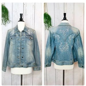 Cold water creek embroidered jean jacket Sz 14